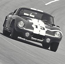 Daytona Continental 2000 km Race, Daytona, FL, 1965. Jo Schlesser/Hal Keck Cobra coupe finished 2nd overall and 1st in GT at Daytona.