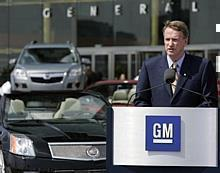 General Motors Chairman and CEO Rick Wagoner announces GM will provide a 100,000-mile/five-year powertrain warranty on all 2007 cars and trucks Wednesday, August 6, 2006 at GM Headquarters at the Renaissance Center in Detroit.