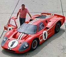 24 Hours of LeMans, LeMans, France, 1967. Carroll Shelby with the race winning Ford Mark IV.