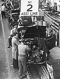 Early Morris Minor assembly, of the MM model (1948 to 1953)