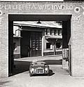 The first Ferrari built, 125 S, on the entrance of the factory in 1947