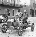 Buick's chief engineer, Walter L. Marr (left), and Thomas D Buick, son of founder David Dunbar Buick, in the first Flint Buick as it ended its successful Flint-Detroit round trip in July, 1904.